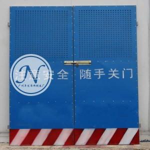 蓝色冲孔板人货梯门细节图 (2)